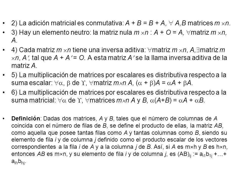 2) La adición matricial es conmutativa: A + B = B + A,  A,B matrices m n.