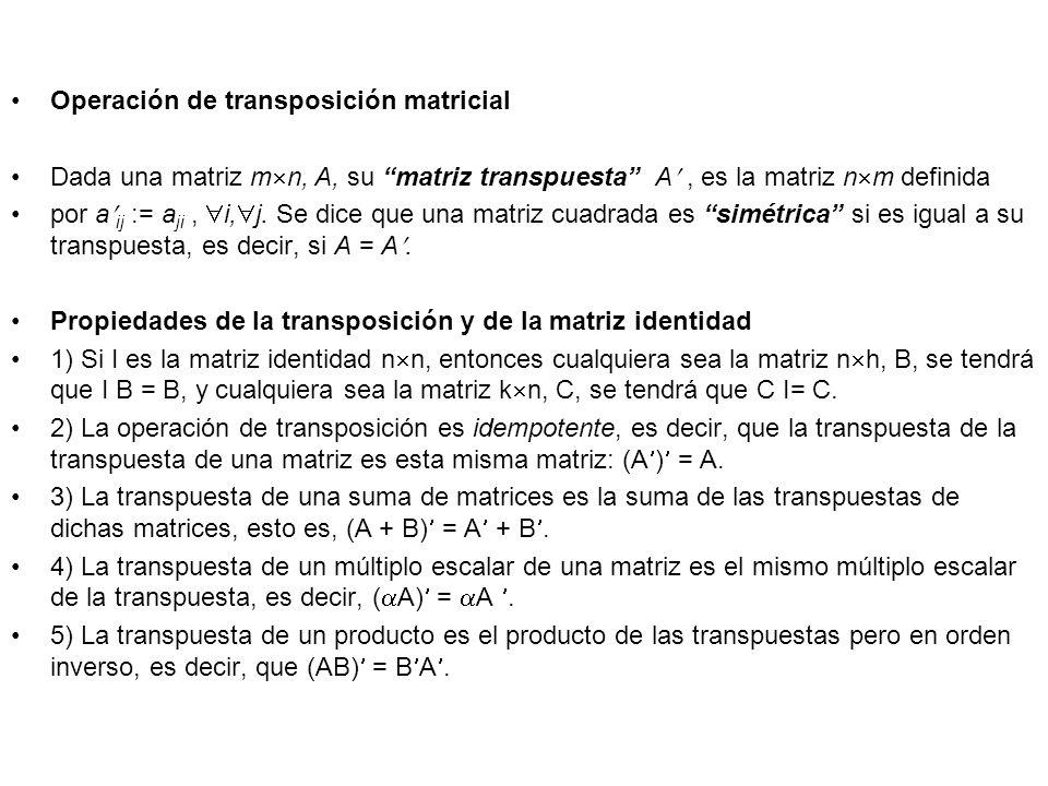 Operación de transposición matricial