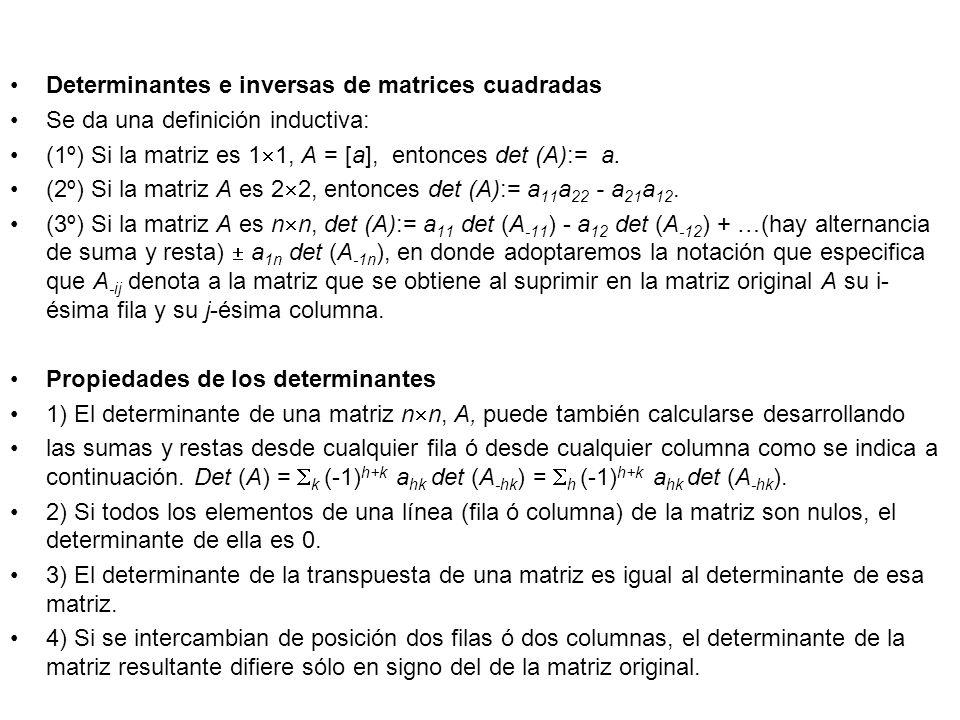 Determinantes e inversas de matrices cuadradas