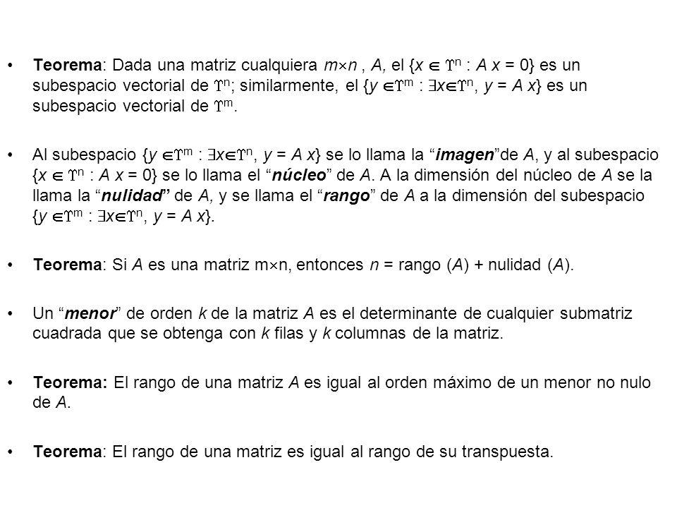 Teorema: Dada una matriz cualquiera mn , A, el {x  n : A x = 0} es un subespacio vectorial de n; similarmente, el {y m : xn, y = A x} es un subespacio vectorial de m.