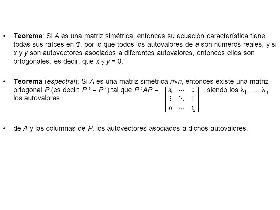 Teorema: Si A es una matriz simétrica, entonces su ecuación característica tiene todas sus raíces en , por lo que todos los autovalores de a son números reales, y si x y y son autovectores asociados a diferentes autovalores, entonces ellos son ortogonales, es decir, que x  y = 0.