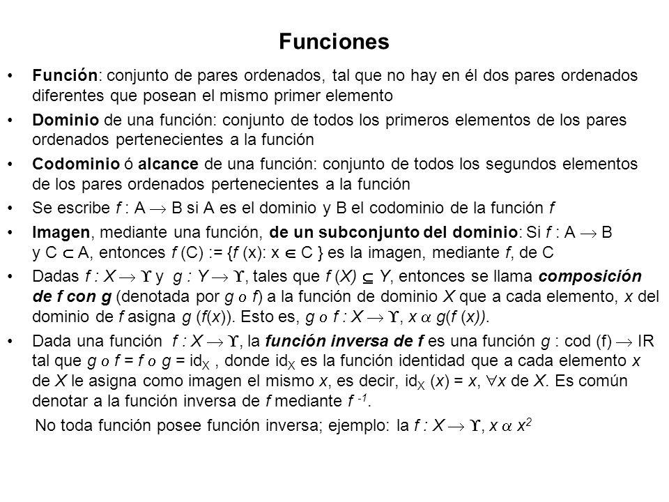 Funciones Función: conjunto de pares ordenados, tal que no hay en él dos pares ordenados diferentes que posean el mismo primer elemento.