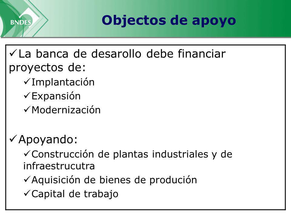 Objectos de apoyo La banca de desarollo debe financiar proyectos de: