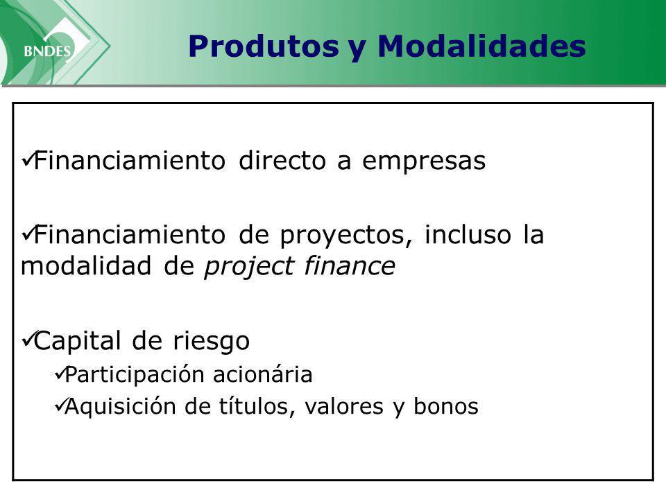 Produtos y Modalidades