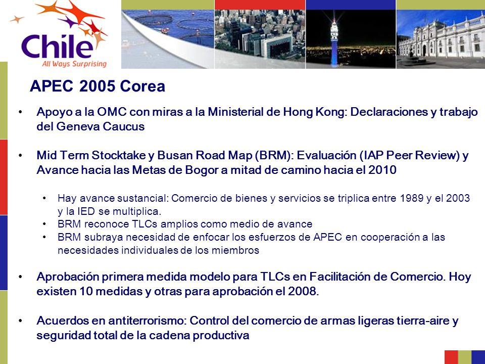 APEC 2005 Corea Apoyo a la OMC con miras a la Ministerial de Hong Kong: Declaraciones y trabajo del Geneva Caucus.