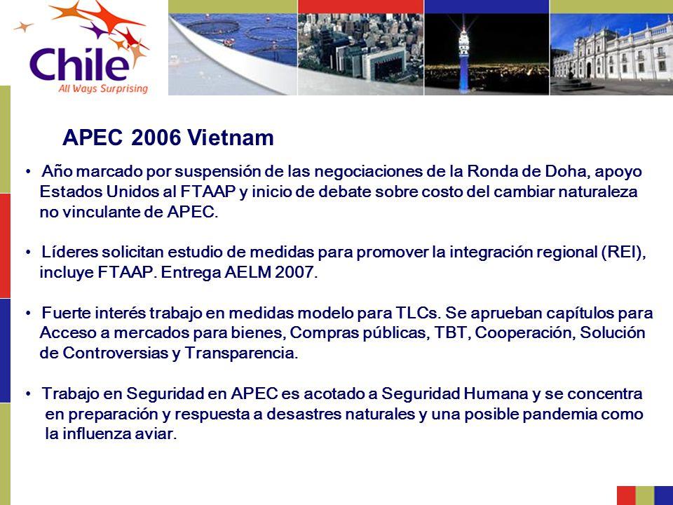 APEC 2006 Vietnam Año marcado por suspensión de las negociaciones de la Ronda de Doha, apoyo.