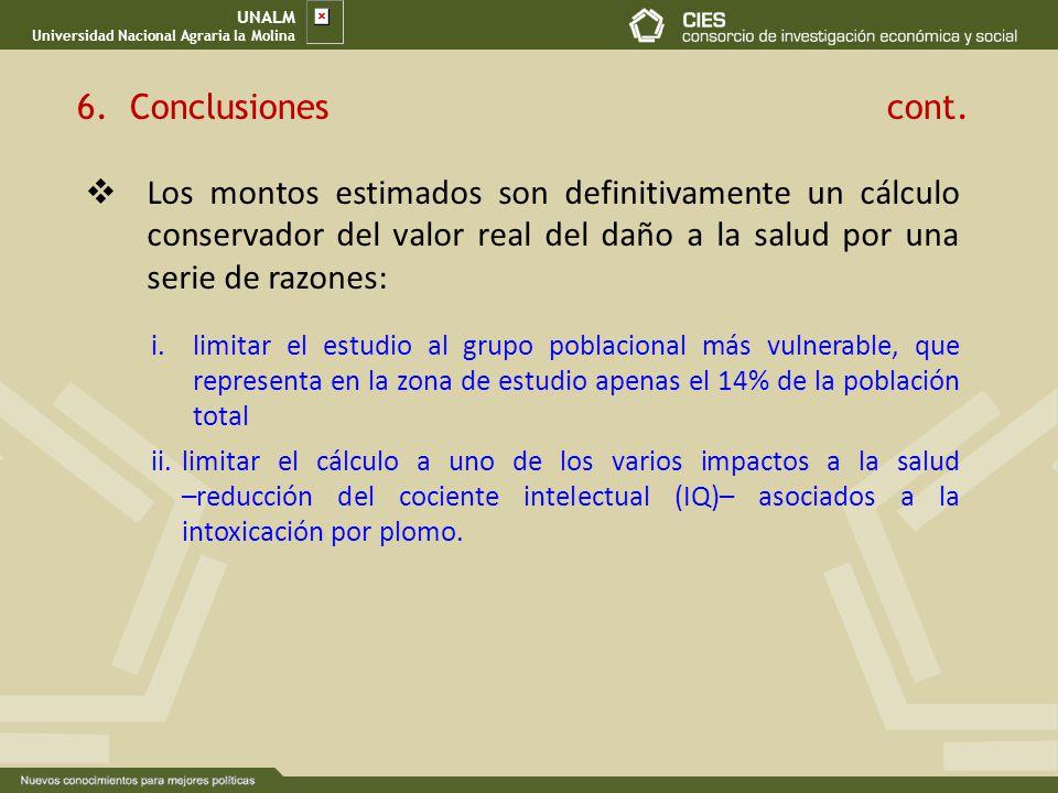 UNALM Universidad Nacional Agraria la Molina. Conclusiones cont.