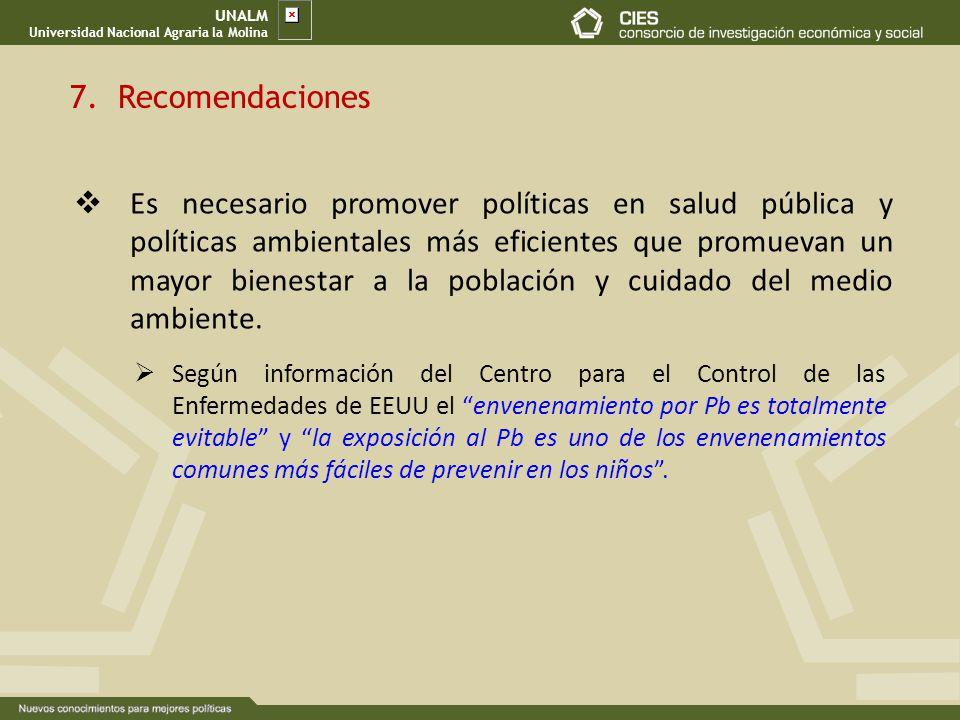 UNALM Universidad Nacional Agraria la Molina. 7. Recomendaciones.