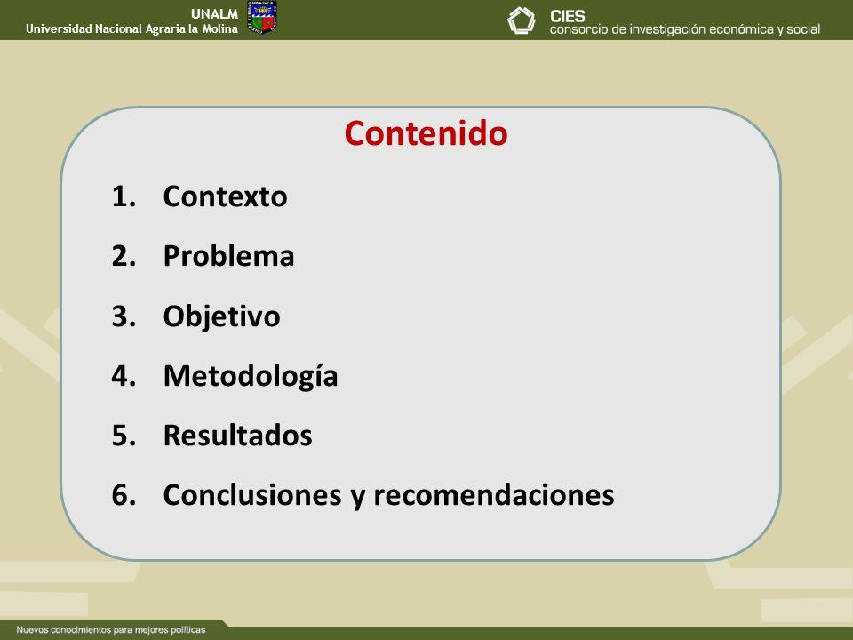Contenido Contexto Problema Objetivo Metodología Resultados