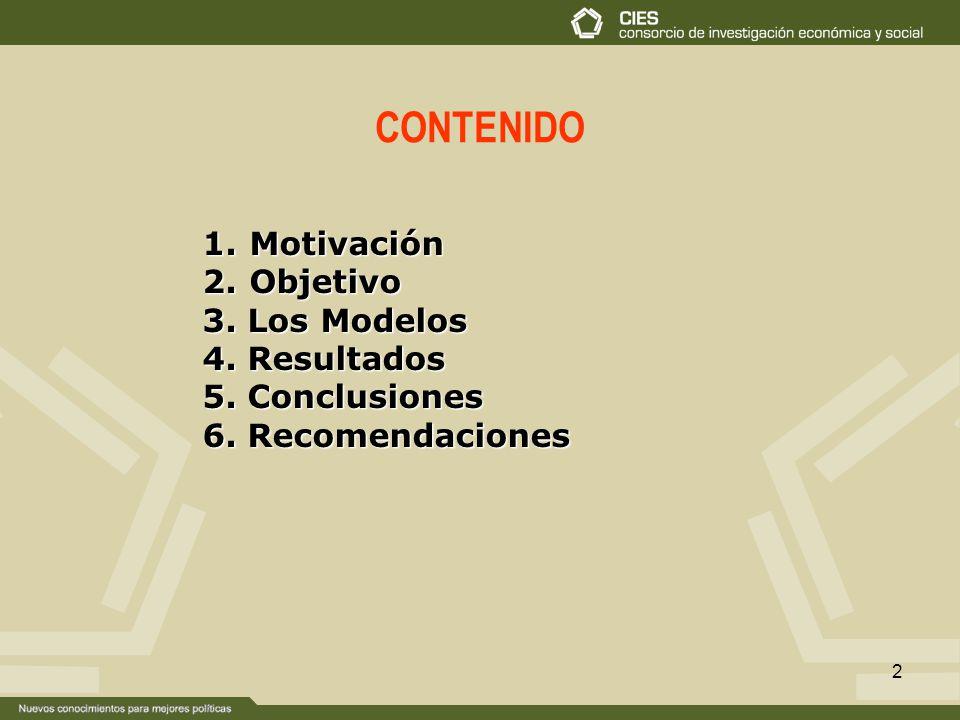 CONTENIDO Motivación Objetivo 3. Los Modelos 4. Resultados