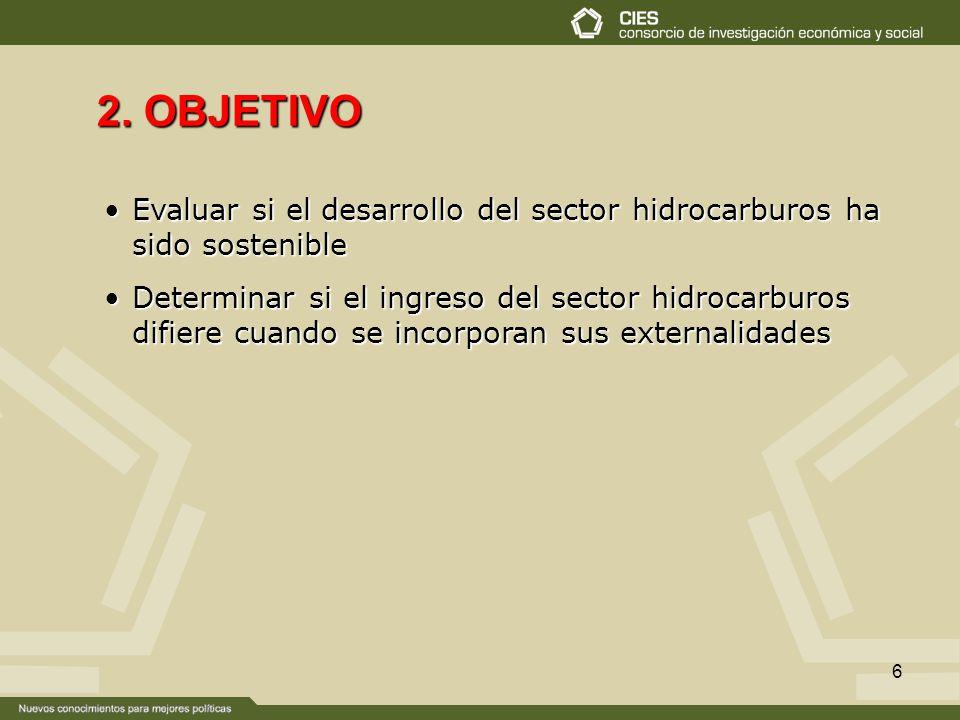 2. OBJETIVO Evaluar si el desarrollo del sector hidrocarburos ha sido sostenible.