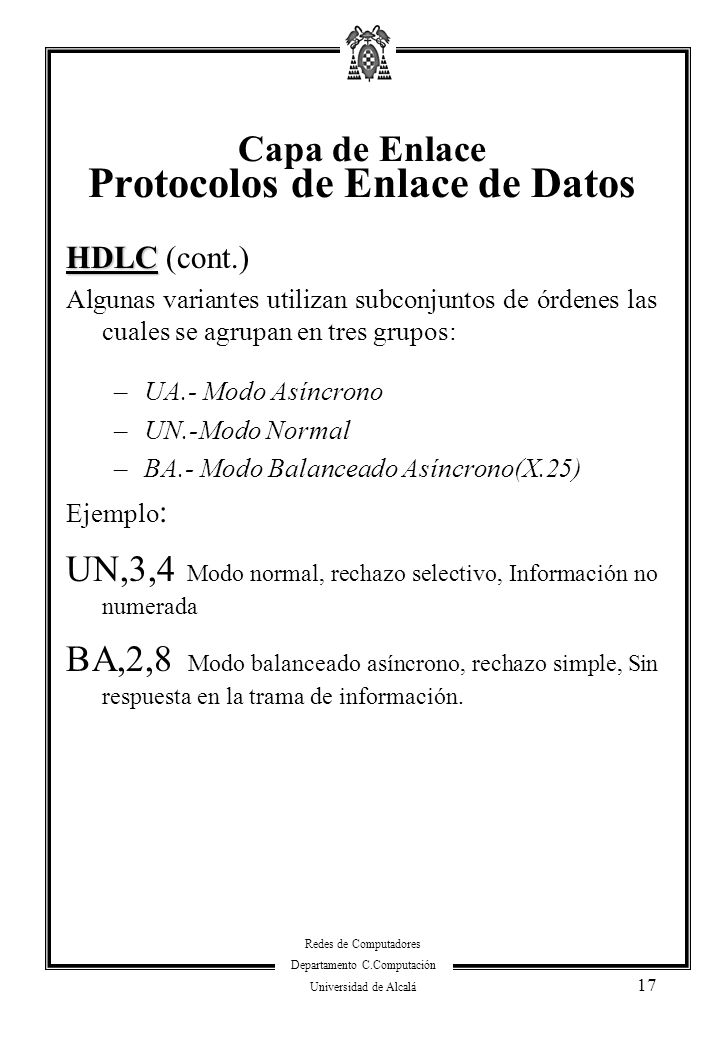 Capa de Enlace Protocolos de Enlace de Datos