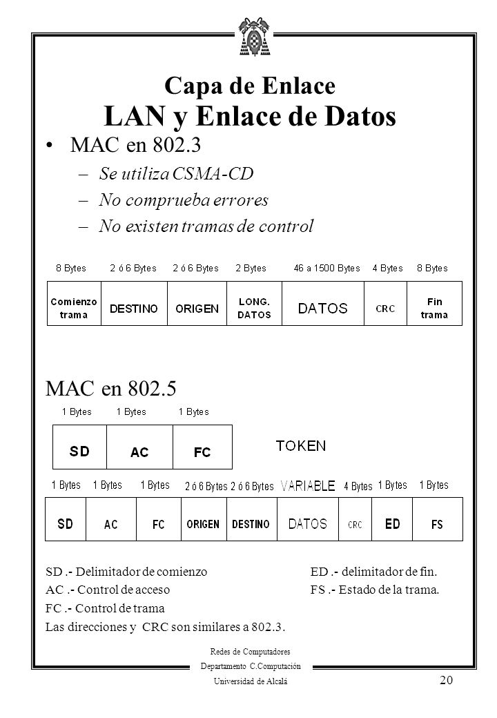 Capa de Enlace LAN y Enlace de Datos