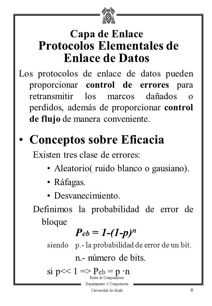 Capa de Enlace Protocolos Elementales de Enlace de Datos