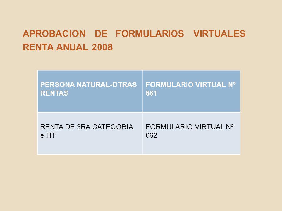APROBACION DE FORMULARIOS VIRTUALES RENTA ANUAL 2008