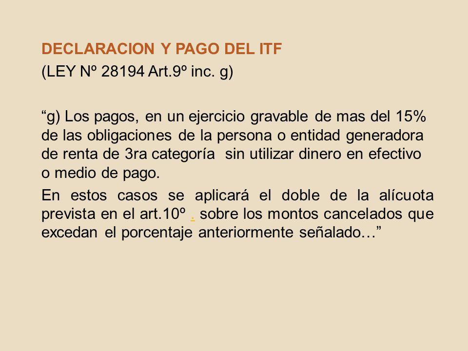 DECLARACION Y PAGO DEL ITF