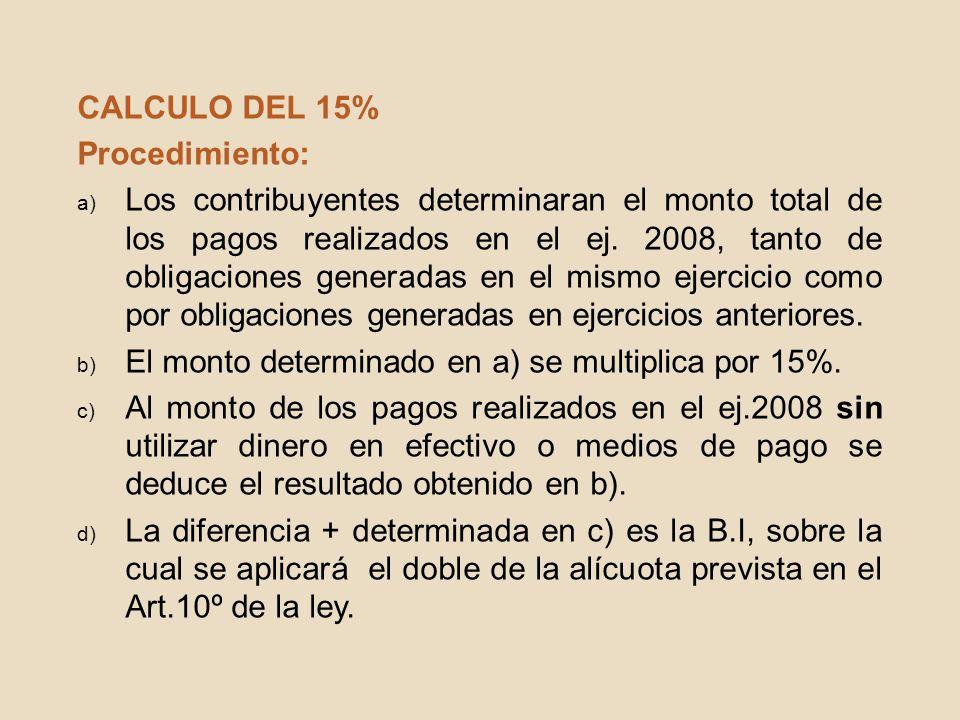 CALCULO DEL 15% Procedimiento: