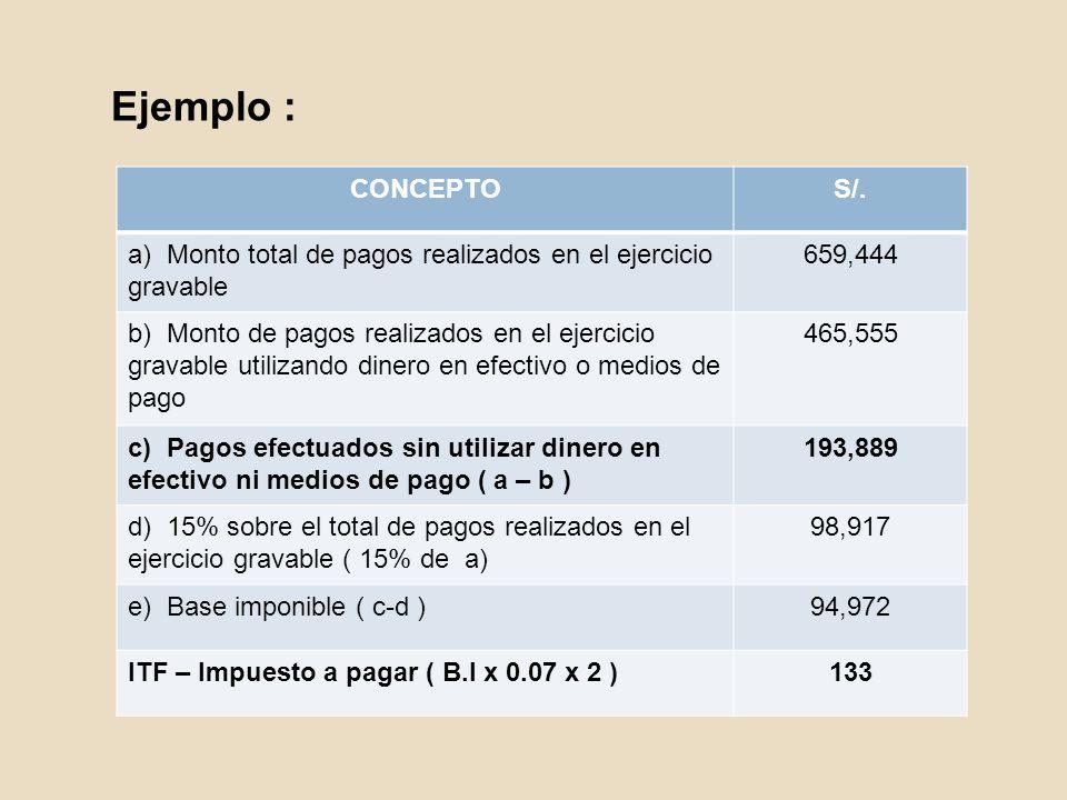 Ejemplo : CONCEPTO. S/. a) Monto total de pagos realizados en el ejercicio gravable. 659,444.