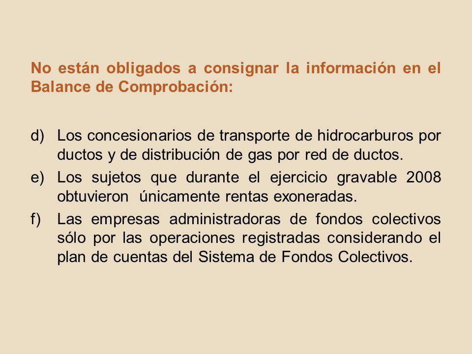No están obligados a consignar la información en el Balance de Comprobación: