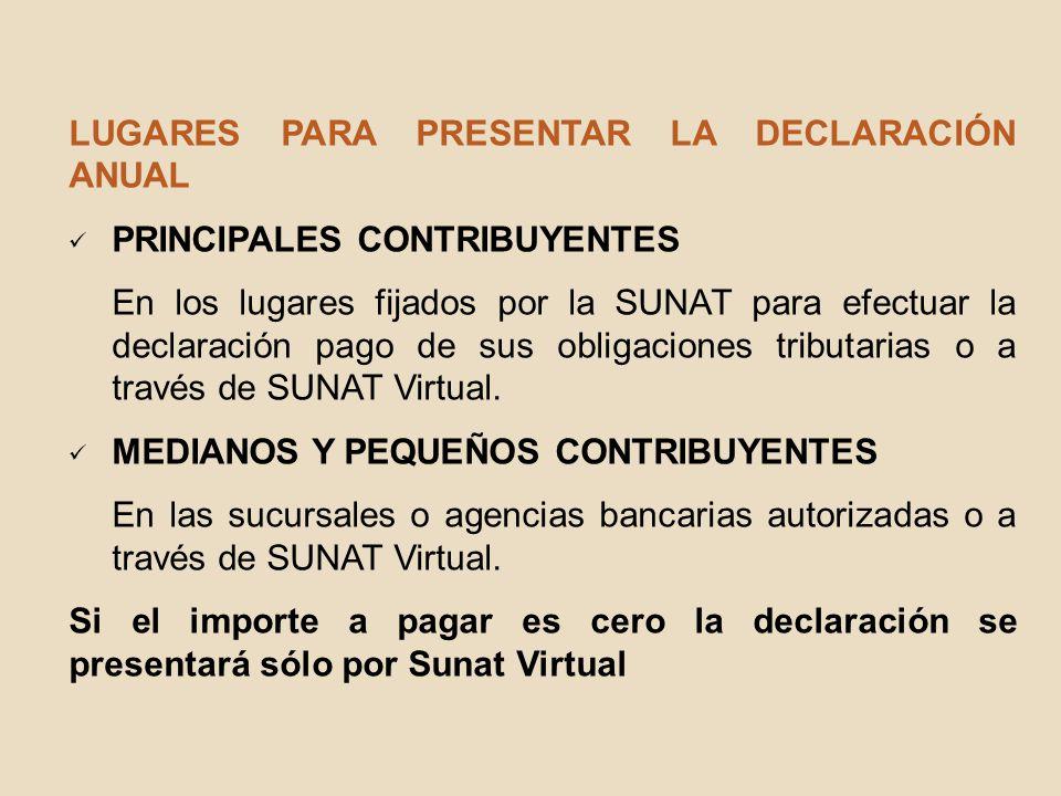 LUGARES PARA PRESENTAR LA DECLARACIÓN ANUAL