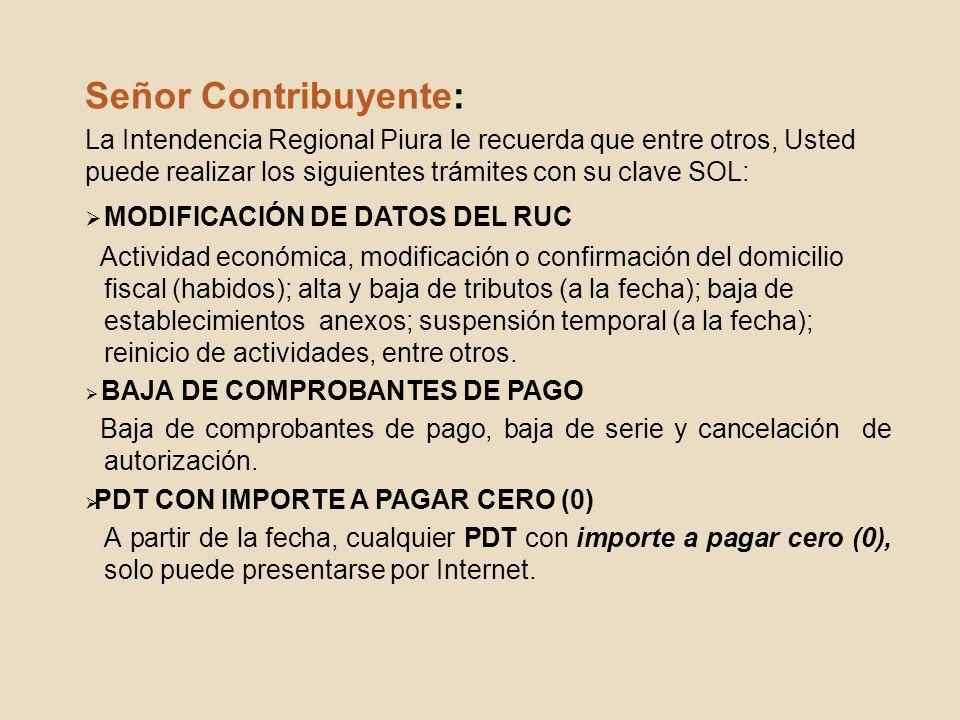 Señor Contribuyente: MODIFICACIÓN DE DATOS DEL RUC