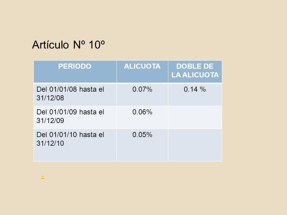 Artículo Nº 10º . PERIODO ALICUOTA DOBLE DE LA ALICUOTA