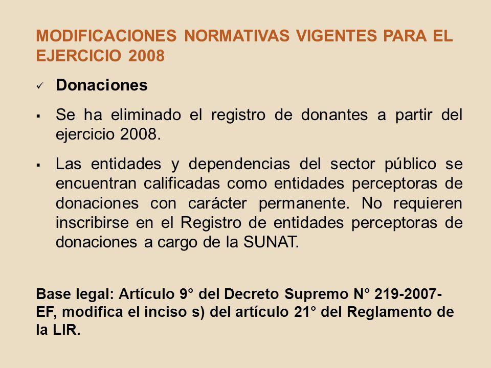 MODIFICACIONES NORMATIVAS VIGENTES PARA EL EJERCICIO 2008 Donaciones