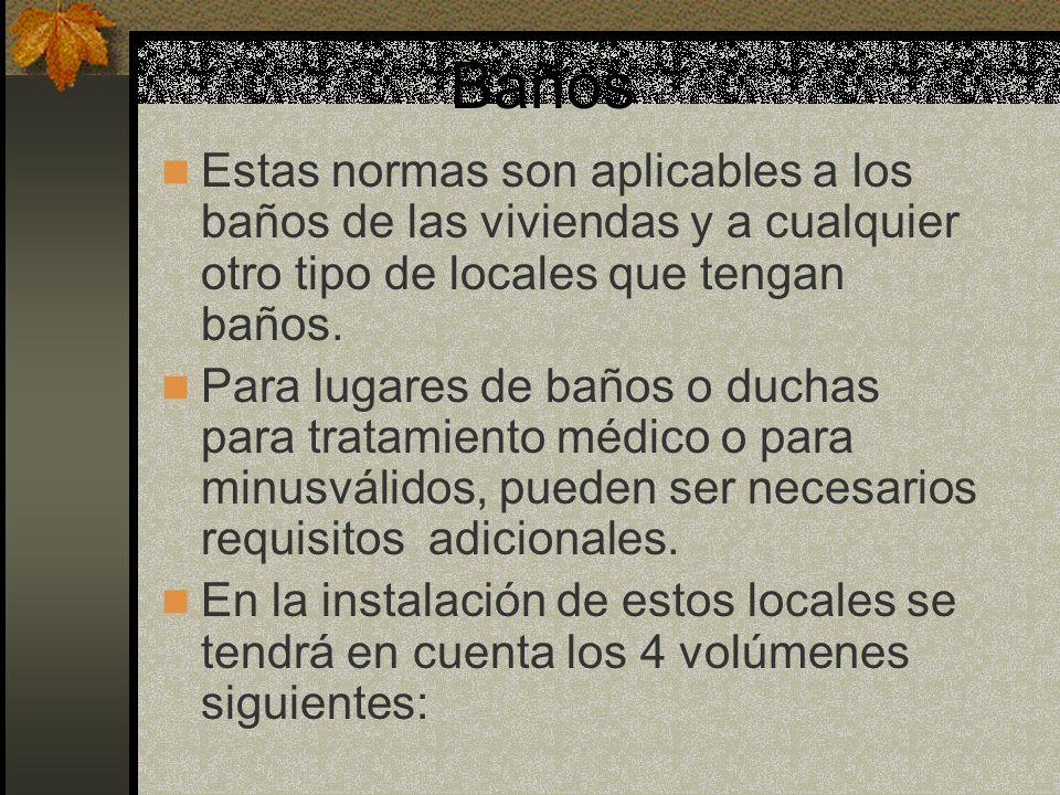 Baños Estas normas son aplicables a los baños de las viviendas y a cualquier otro tipo de locales que tengan baños.