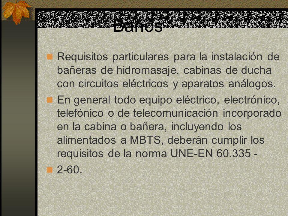 Baños Requisitos particulares para la instalación de bañeras de hidromasaje, cabinas de ducha con circuitos eléctricos y aparatos análogos.