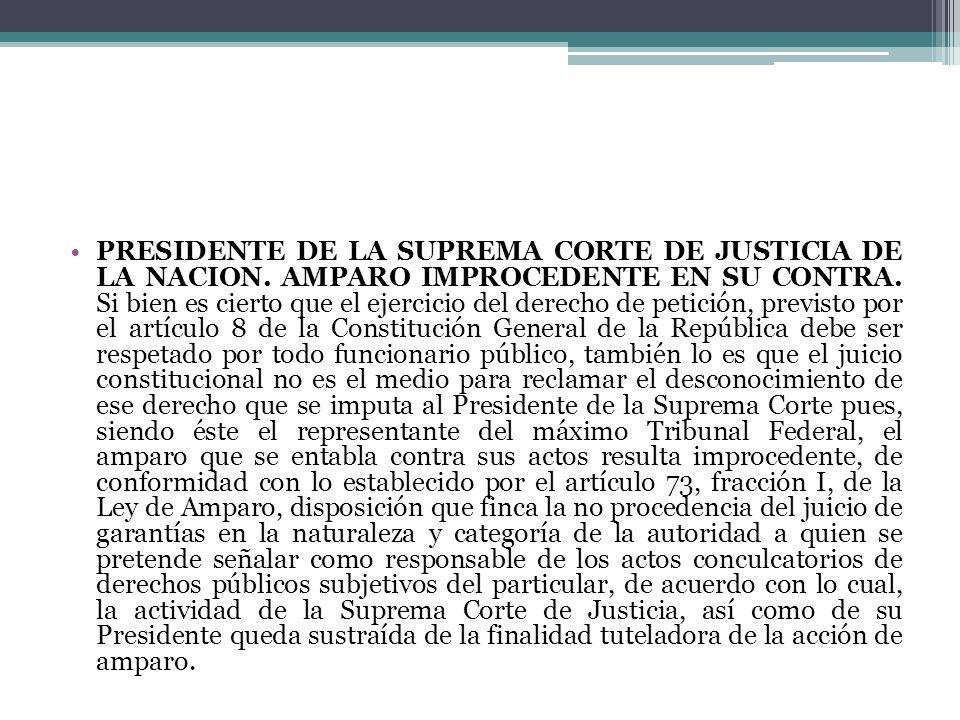 PRESIDENTE DE LA SUPREMA CORTE DE JUSTICIA DE LA NACION