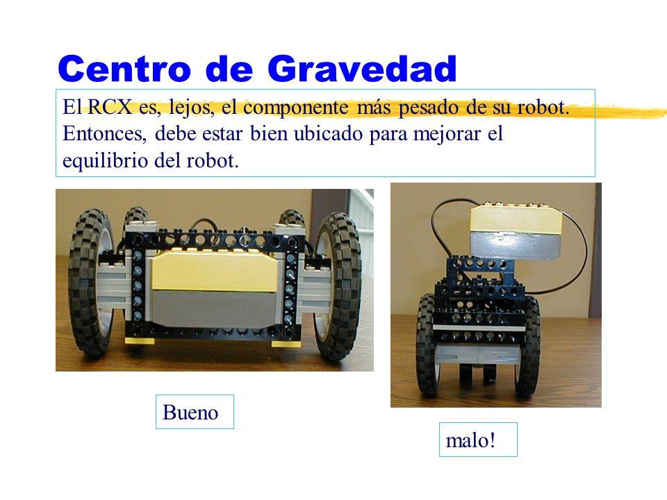 Centro de Gravedad El RCX es, lejos, el componente más pesado de su robot. Entonces, debe estar bien ubicado para mejorar el equilibrio del robot.