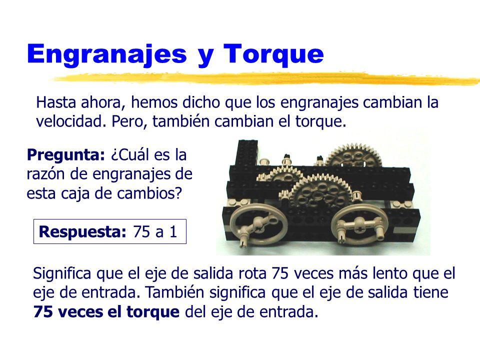 Engranajes y TorqueHasta ahora, hemos dicho que los engranajes cambian la. velocidad. Pero, también cambian el torque.