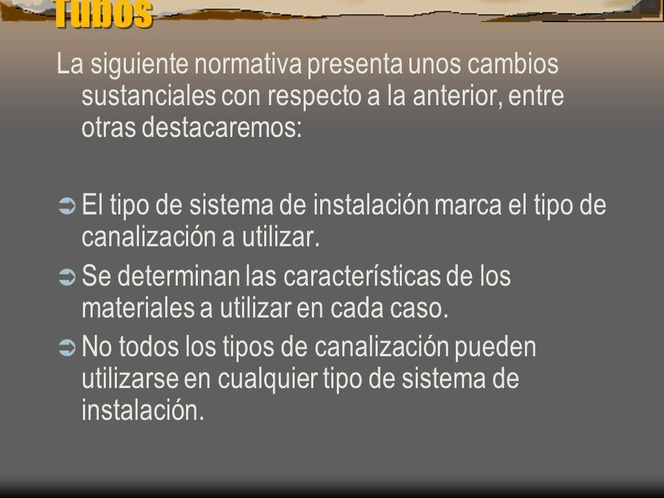 Tubos La siguiente normativa presenta unos cambios sustanciales con respecto a la anterior, entre otras destacaremos: