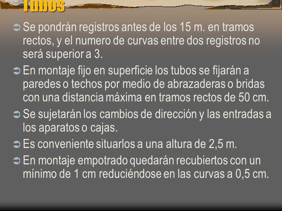 Tubos Se pondrán registros antes de los 15 m. en tramos rectos, y el numero de curvas entre dos registros no será superior a 3.