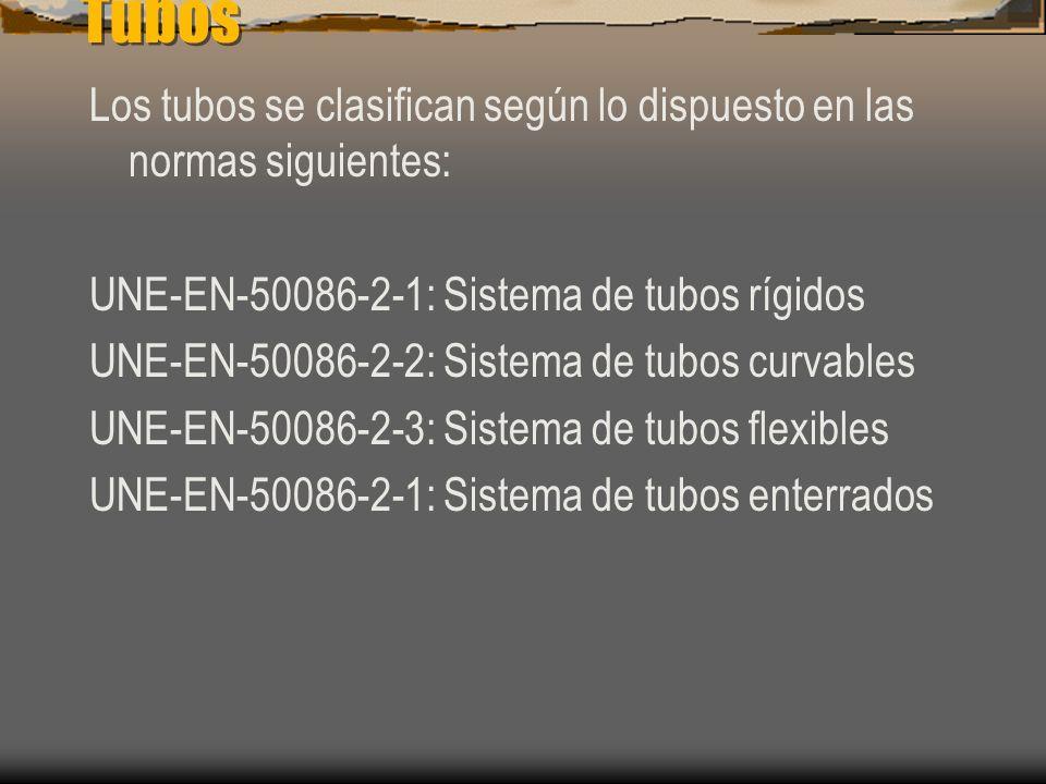 Tubos Los tubos se clasifican según lo dispuesto en las normas siguientes: UNE-EN-50086-2-1: Sistema de tubos rígidos.