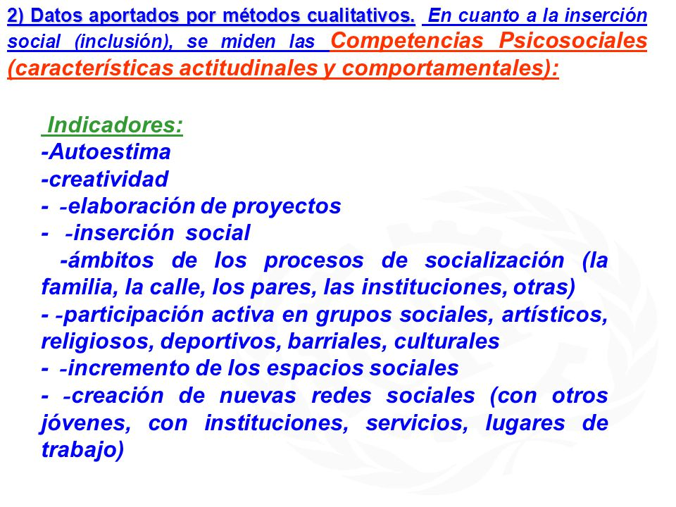 - -elaboración de proyectos - -inserción social