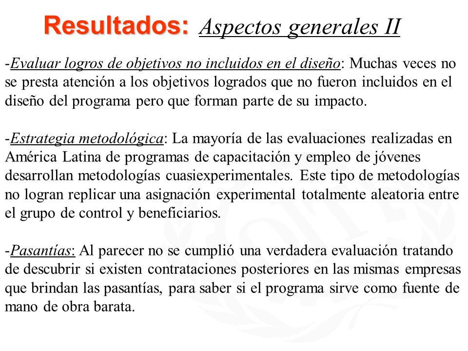 Resultados: Aspectos generales II