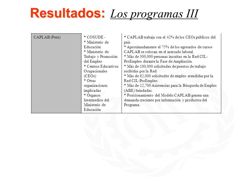 Resultados: Los programas III