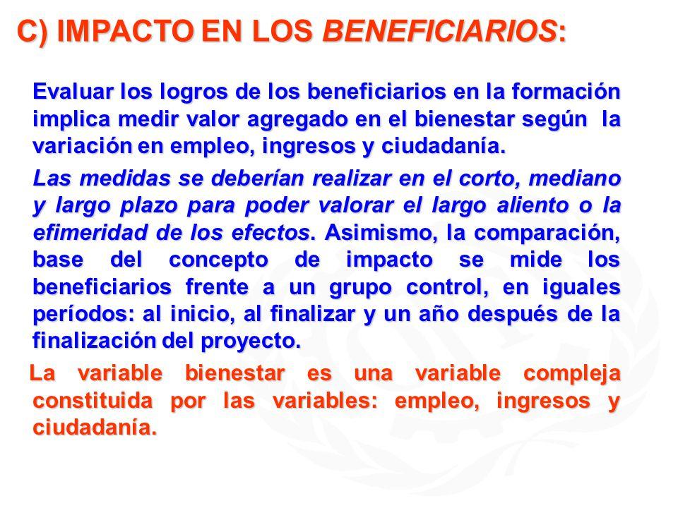C) IMPACTO EN LOS BENEFICIARIOS: