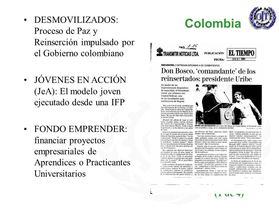 Colombia DESMOVILIZADOS: Proceso de Paz y Reinserción impulsado por el Gobierno colombiano.