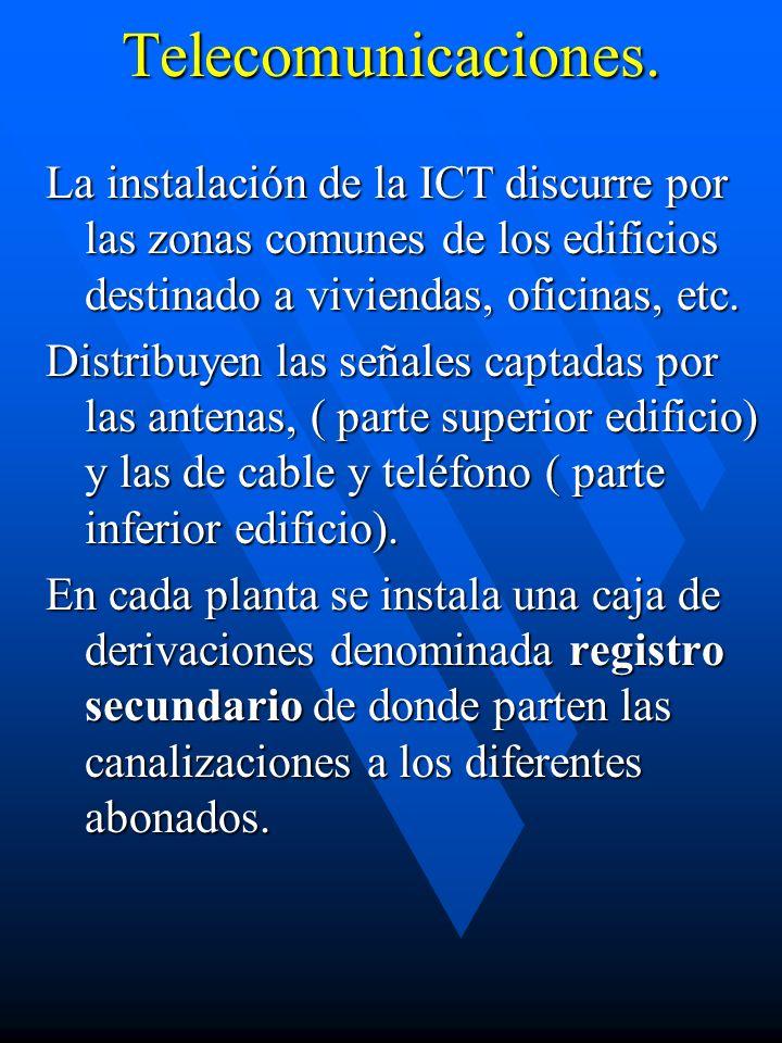 Telecomunicaciones.La instalación de la ICT discurre por las zonas comunes de los edificios destinado a viviendas, oficinas, etc.