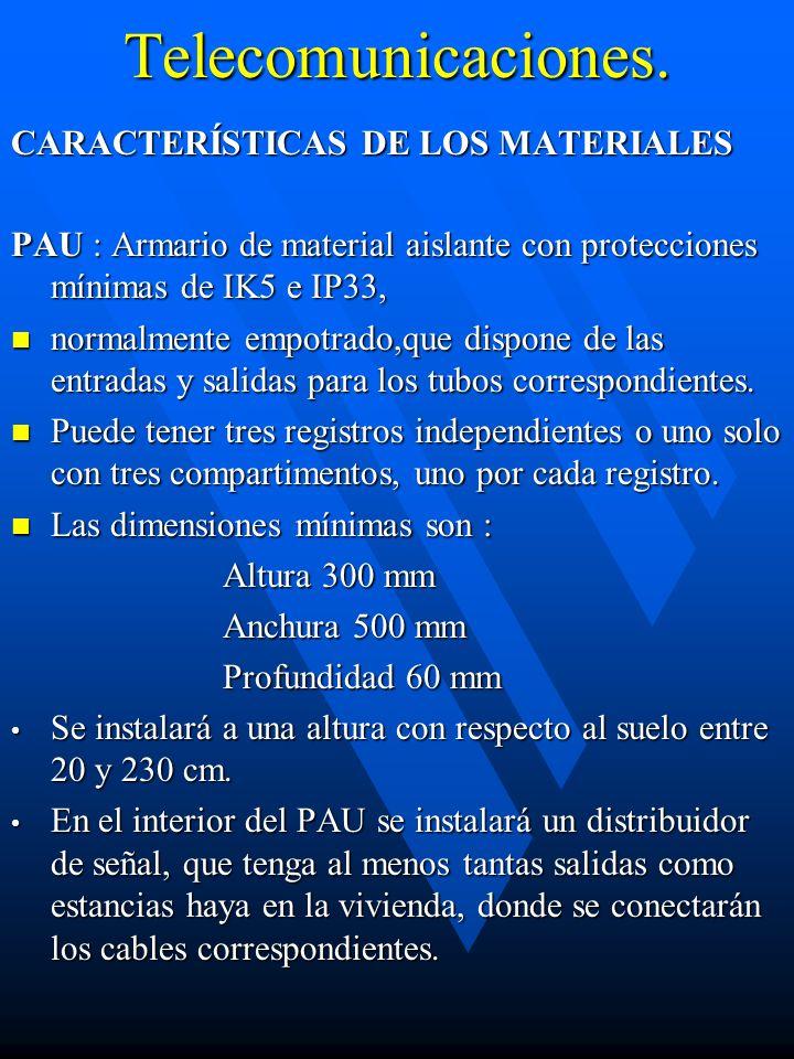 Telecomunicaciones. CARACTERÍSTICAS DE LOS MATERIALES