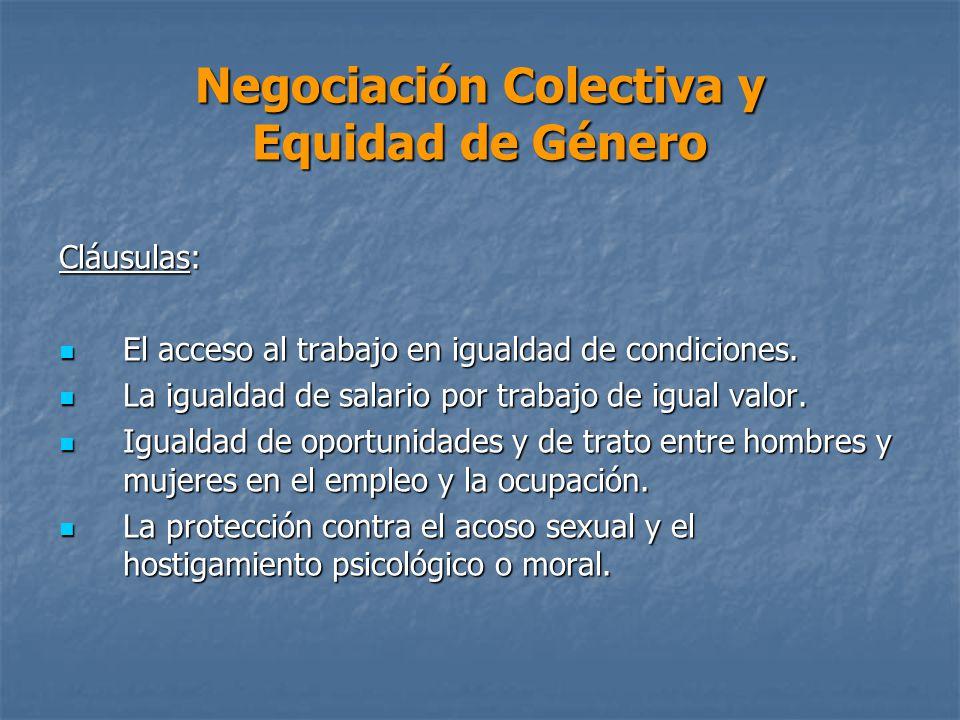 Negociación Colectiva y Equidad de Género