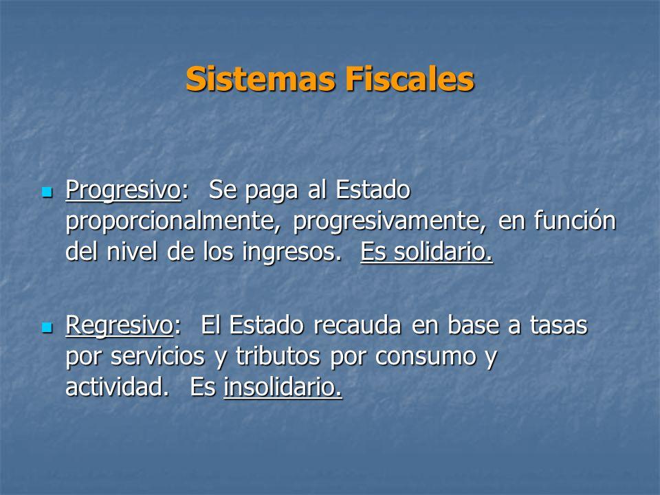 Sistemas Fiscales Progresivo: Se paga al Estado proporcionalmente, progresivamente, en función del nivel de los ingresos. Es solidario.