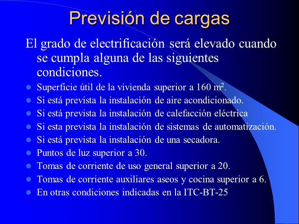Previsión de cargas El grado de electrificación será elevado cuando se cumpla alguna de las siguientes condiciones.