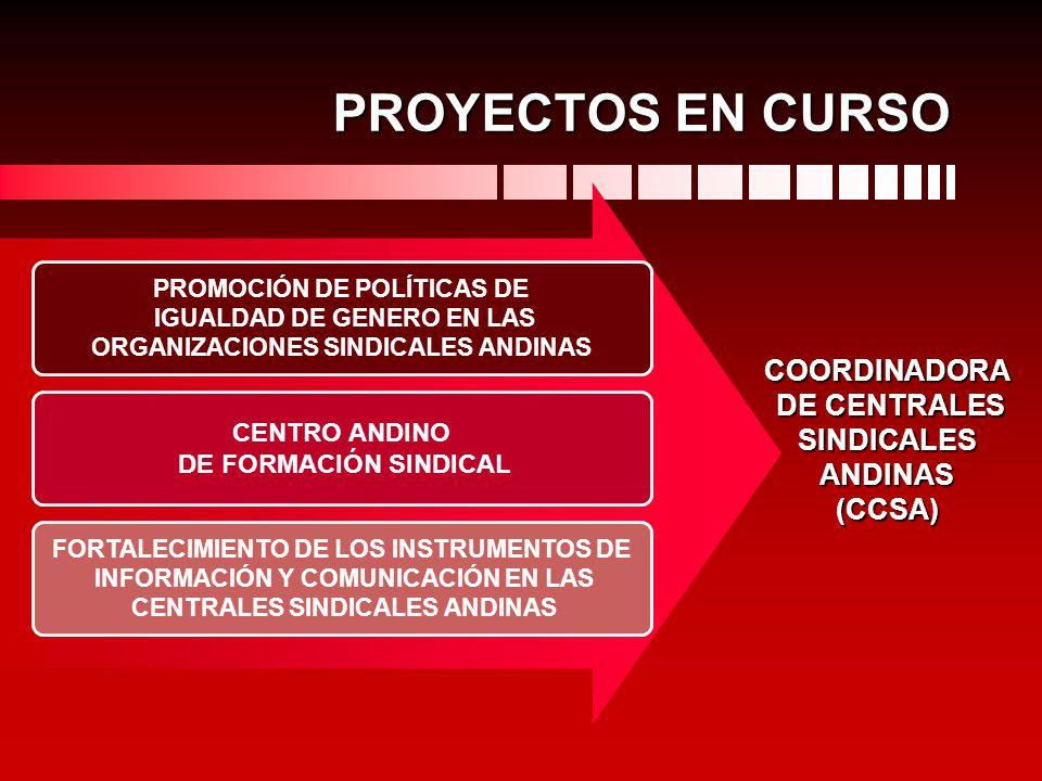 PROYECTOS EN CURSO COORDINADORA DE CENTRALES SINDICALES ANDINAS (CCSA)