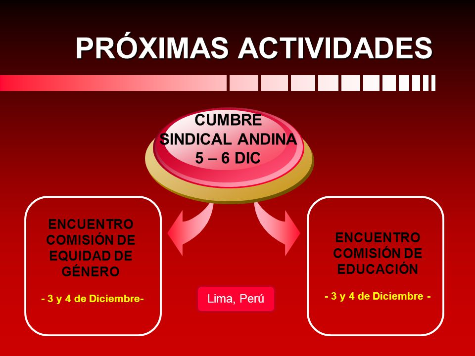 CUMBRE SINDICAL ANDINA 5 – 6 DIC ENCUENTRO COMISIÓN DE EDUCACIÓN