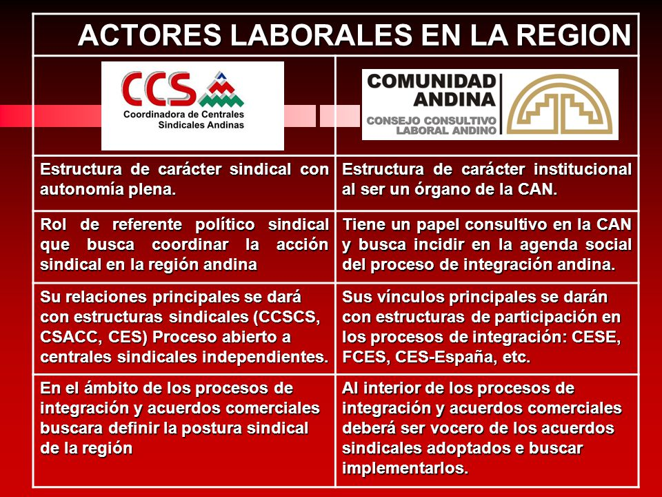 ACTORES LABORALES EN LA REGION