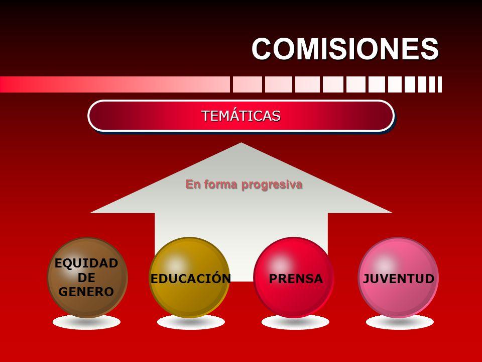 COMISIONES TEMÁTICAS En forma progresiva EQUIDAD DE GENERO EDUCACIÓN