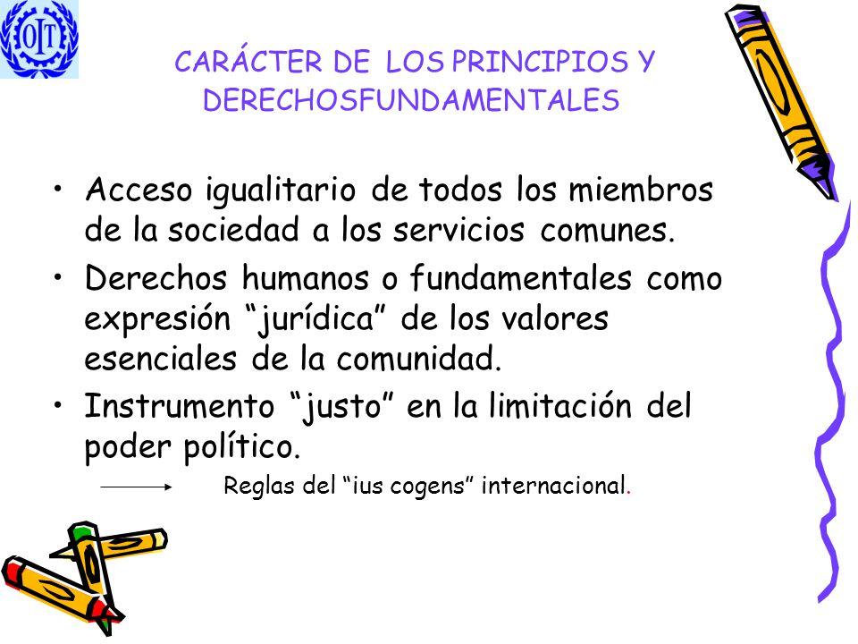 CARÁCTER DE LOS PRINCIPIOS Y DERECHOSFUNDAMENTALES